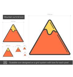 Mountain summit line icon vector