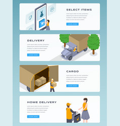 online delivery isometric landing page vector image