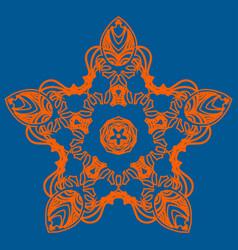 Orange five corner star ornate snowflake icon vector