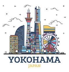 outline yokohama japan city skyline with modern vector image