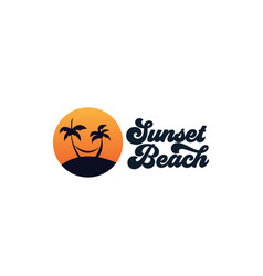 Palm tree or coconut tree with sea sunset circle vector