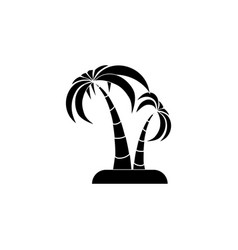 palm trees icon black on white background vector image