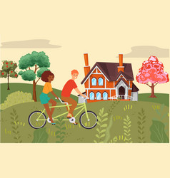 people composition couple riding bike together vector image