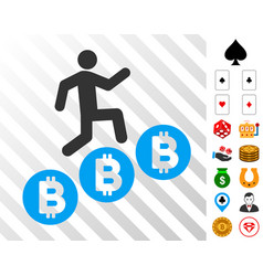 person climb bitcoins icon with bonus vector image