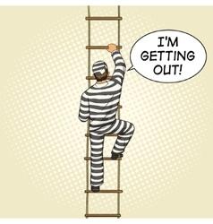 Prisoner crawling on a rope ladder pop art vector image