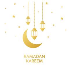 ramadan kareem greeting card golden lanterns vector image