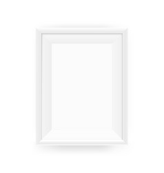 realistic empty white picture frame on a wall vector image