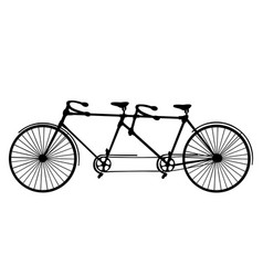Retro silhouette tandem bicycle isolated vector