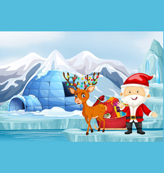 scene with santa and reindeer vector image