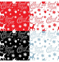 Seamless pattern with calligraphic text merry chri vector
