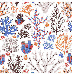 seamless pattern with coral and seaweed on white vector image