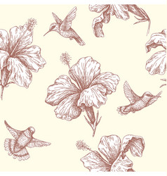 Seamless pattern with flying humming birds and vector