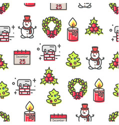 set of christmas theme symbols seamless pattern vector image