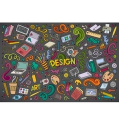 set of design theme items vector image
