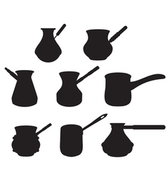 Set turk for brewing coffee vector