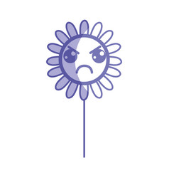Silhouette kawaii angry flower plant with leaves vector