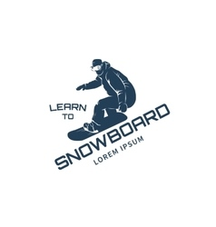 silhouette snowboarder vector image
