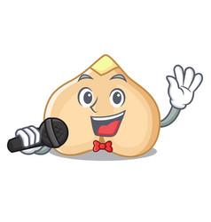 Singing chickpeas mascot cartoon style vector