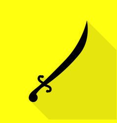 sword sign black icon with flat vector image