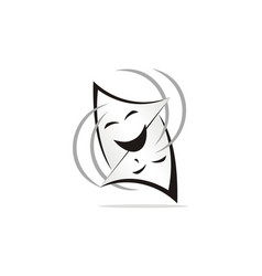 Theatrical mask logo design template vector