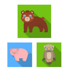 Toy animals flat icons in set collection for vector