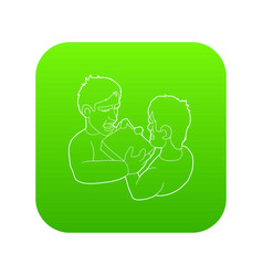 two aggressive men fighting for box icon green vector image