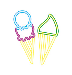 two neon delicious ice cream cone bright vector image