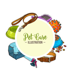 Veterinary banner of pet accessories with round vector