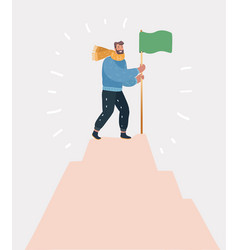 Victorious man standing on top holding a flag vector
