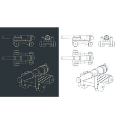 Vintage naval cannon drawings vector