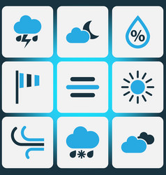 Weather colored icons set collection of cloudy vector