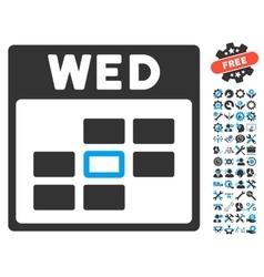 Wednesday Calendar Grid Icon With Bonus vector