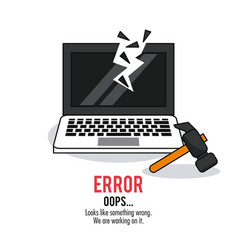 White background poster with monochrome laptop vector