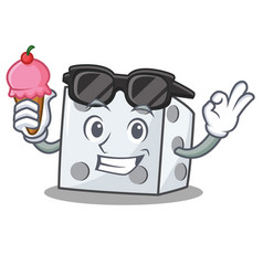 With ice cream dice character cartoon style vector