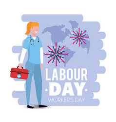 Woman doctor with first aid to labour day vector