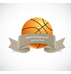 Basketball with brown ribbon vector image vector image