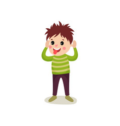 cheerful boy kid character standing with hands up vector image