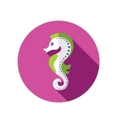Sea Horse flat icon with long shadow vector image