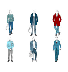 six mannequin with casual outfit vector image