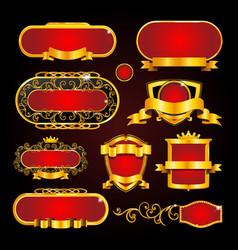 vintage gold frame on black background vector image vector image