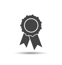 Badge with ribbon icon in flat style on white vector