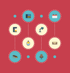 flat icons date letter puncher and other vector image vector image