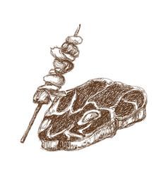 Hand draw steak and kebab menu restaurant doodle vector