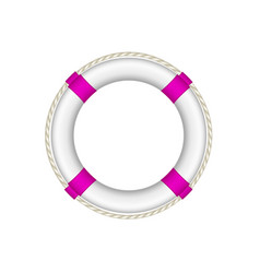 life buoy in white and purple design with rope vector image vector image