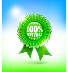 natural green label 100 vector image
