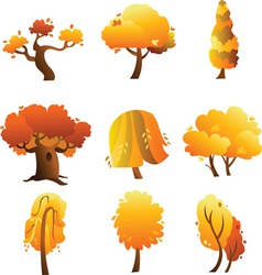 Set of trees - autumn vector image vector image