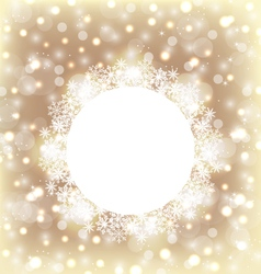 Christmas round frame made in snowflakes on vector image vector image