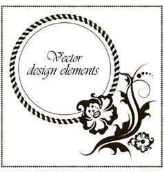 Elegant frame banner floral elements vector image vector image