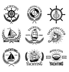set of yachting emblems isolated on white vector image vector image