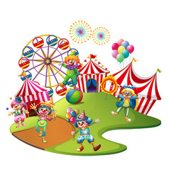 clowns performing in the circus vector image